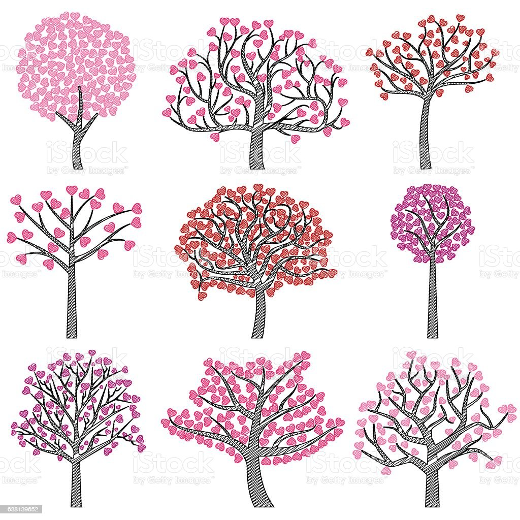 Valentines day tree silhouettes with heart shaped leaves stock valentines day tree silhouettes with heart shaped leaves royalty free valentines day tree silhouettes with mightylinksfo