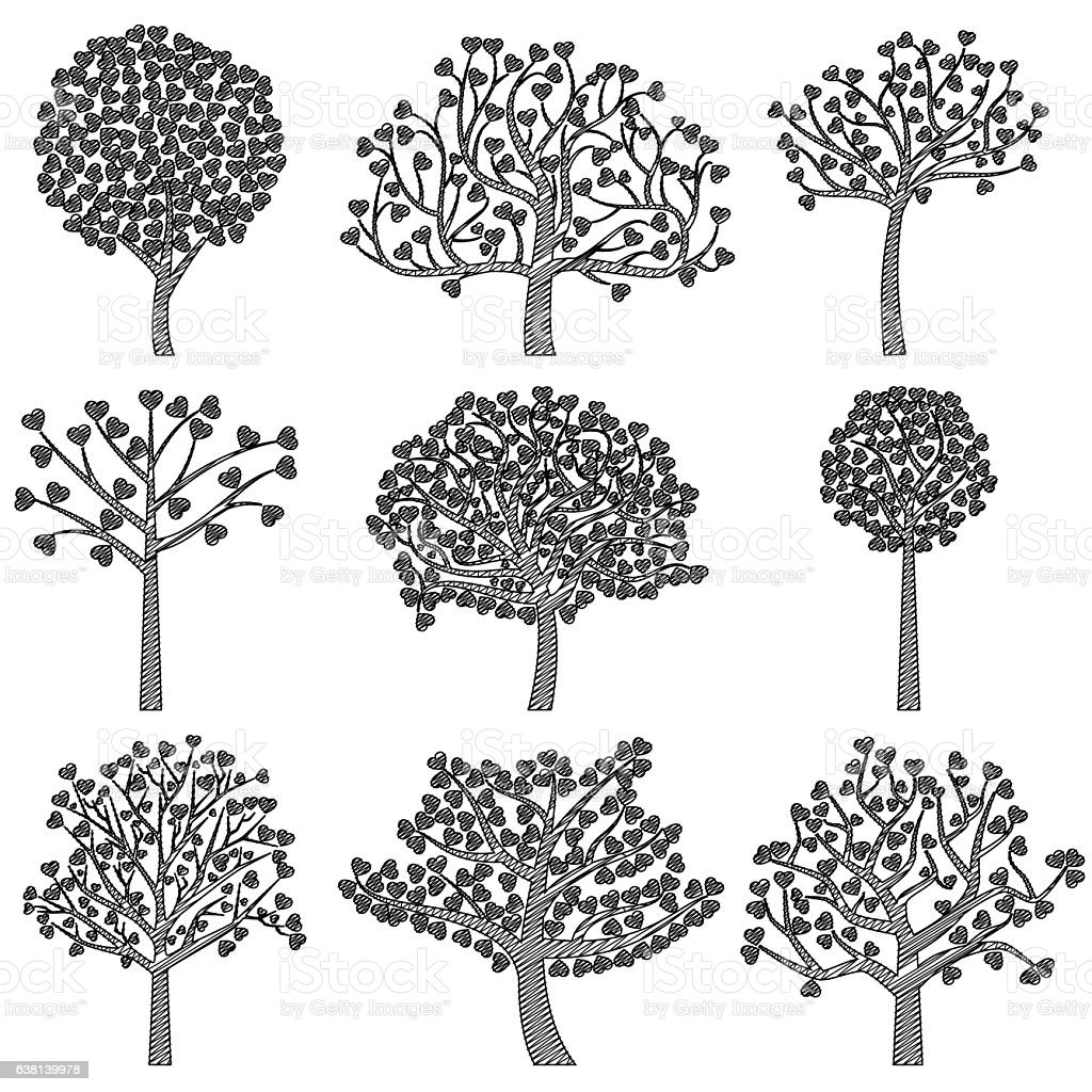 Valentines Day Tree Silhouettes With Heart Shaped Leaves Stock