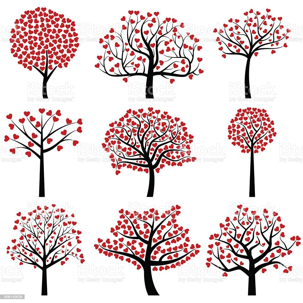 Valentines Day Tree Silhouettes With Heart Shaped Leaves ...