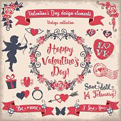 Valentine's Day tricolor vintage design elements set. The color palette is neutral (vintage colors). The used colors are burgundy, red, beige and dark blue gray.