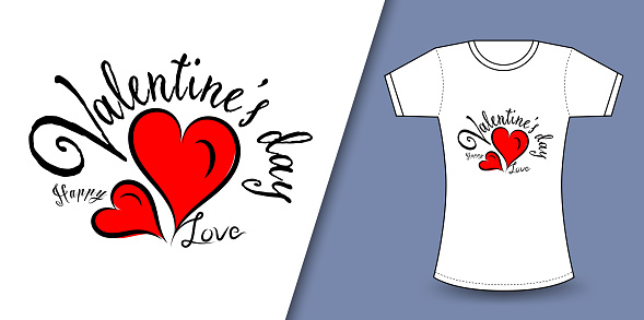 Valentine's day t-Shirt Design vector, T shirt design for happy valentine's day template, clothing print, t shirt mockup, Female fashion, Valentines day text design with red heart vector