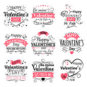Valentines Day typography, ribbon banners and decoration elements vector set. Vintage lettering line labels