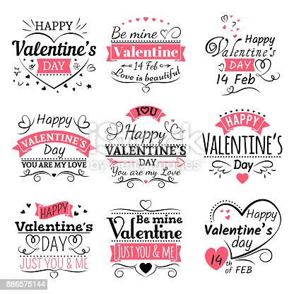 Valentines Day Typography Ribbon Banners And Decoration Elements Vector Set Stock Vector Art & More Images of Adult 886575144