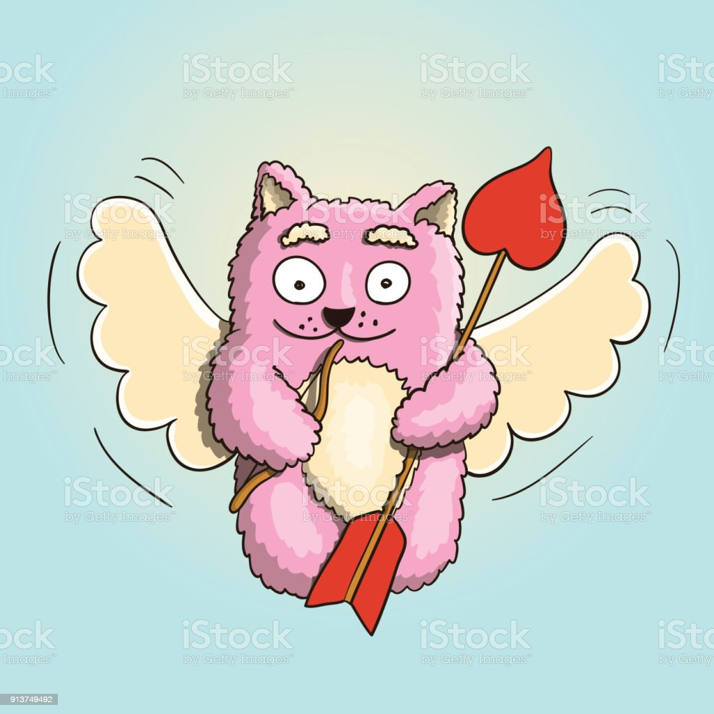 Valentines Day Valentines Cupid Pink Cat With Little Bow And Big