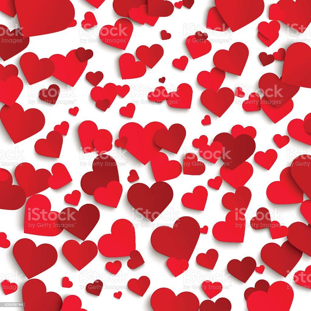 Valentines Day Vektor Hintergrund Vorlage Roten Papier Herz Stock ...