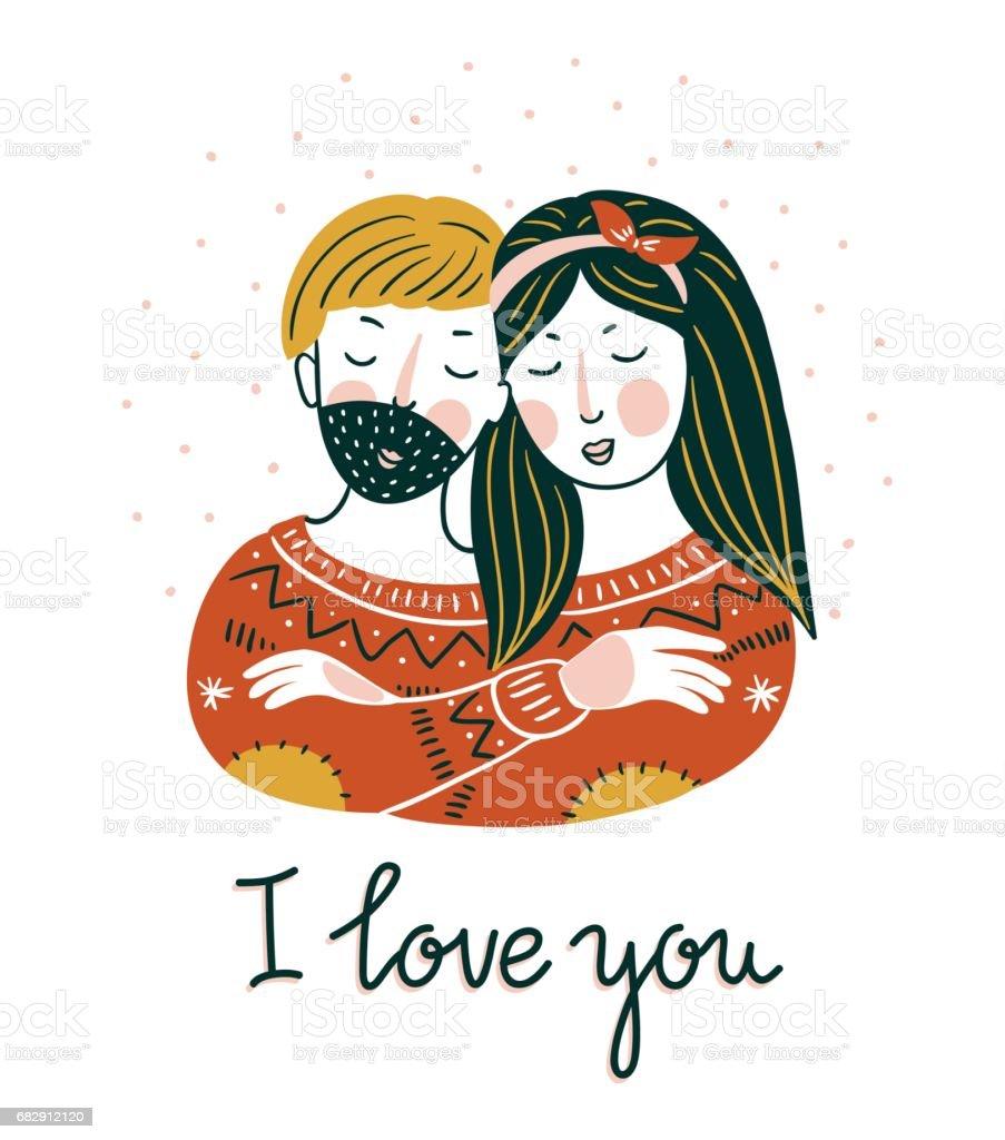 バレンタイン ベクトル カードレタリングと北欧風の素敵な女の子と少年