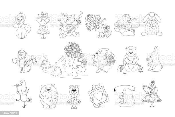 Valentines day vector coloring pages for kids cute cartoon animals vector id904753296?b=1&k=6&m=904753296&s=612x612&h=a3x8wktuvuntyuxawxsfiaxkbopv ci0zsofexedd4w=