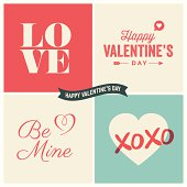 Valentine's day illustrations and typography elements