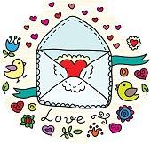 Valentine's Day Vector Envelope. Vector illustration for your cute design.
