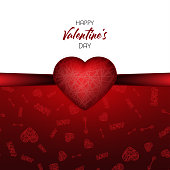 Valentines day. Vector greeting card with red heart and Cupids arrow and text