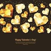 Valentines day vector horizontal black background with 3d gold heart diamonds, gems, jewels. Golden holiday texture for Valentines greeting card, banner, poster, flyer, party invitation.