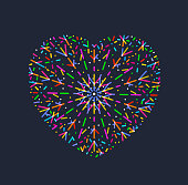 Heart shaped fireworks Valentine's day greeting