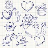 Hand-drawn valentine's day doodle.