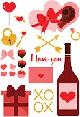 Cute illustrations of various items for Valentines Day.