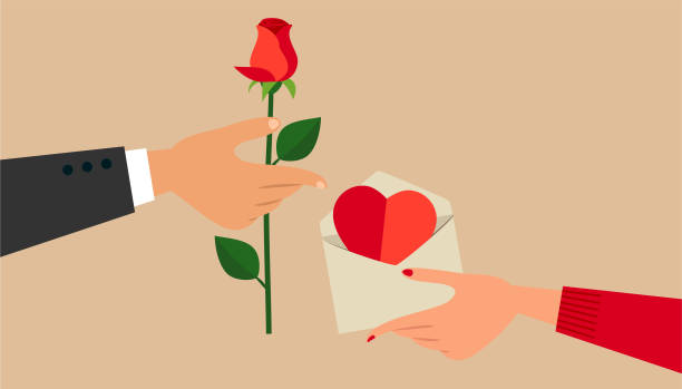 Valentine's Day Man's and woman's hands, exchanging Valentine's Day gifts. romance stock illustrations