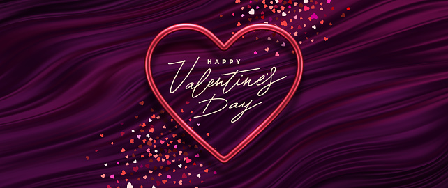Valentines day vector illustration. Calligraphic greeting in heart shaped metallic frame on a purple fluid waves background. Love symbol - realistic red metallic 3d hearts.