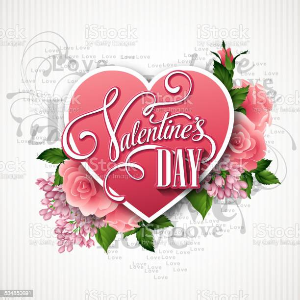 Valentines day vector illustration with a heart of beautiful flowers vector id534850691?b=1&k=6&m=534850691&s=612x612&h=ozk04tt5uknq2pmrmsxyrc1zdv1lyaodmpci iab7x0=
