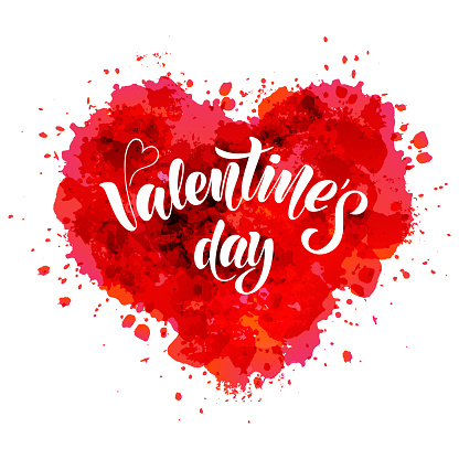 Valentines day - vector illustration with hand lettering
