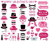 Valentine's Day vector party props (hats, lips, mustaches)