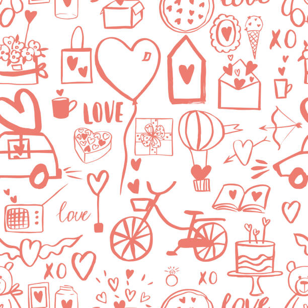 Valentine's Day vector pattern Valentine's Day vector seamless pattern car love stock illustrations
