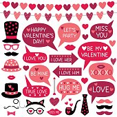 Valentine's Day vector photo booth props (hats, lips, mustaches) and speech bubbles