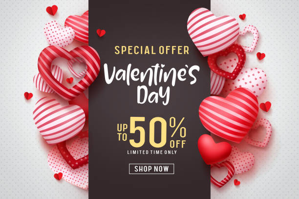 valentines day vector promotional banner. special offer text with red hearts elements - white background stock illustrations