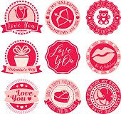 Set of 9 labels and seals for Valentine's Day.