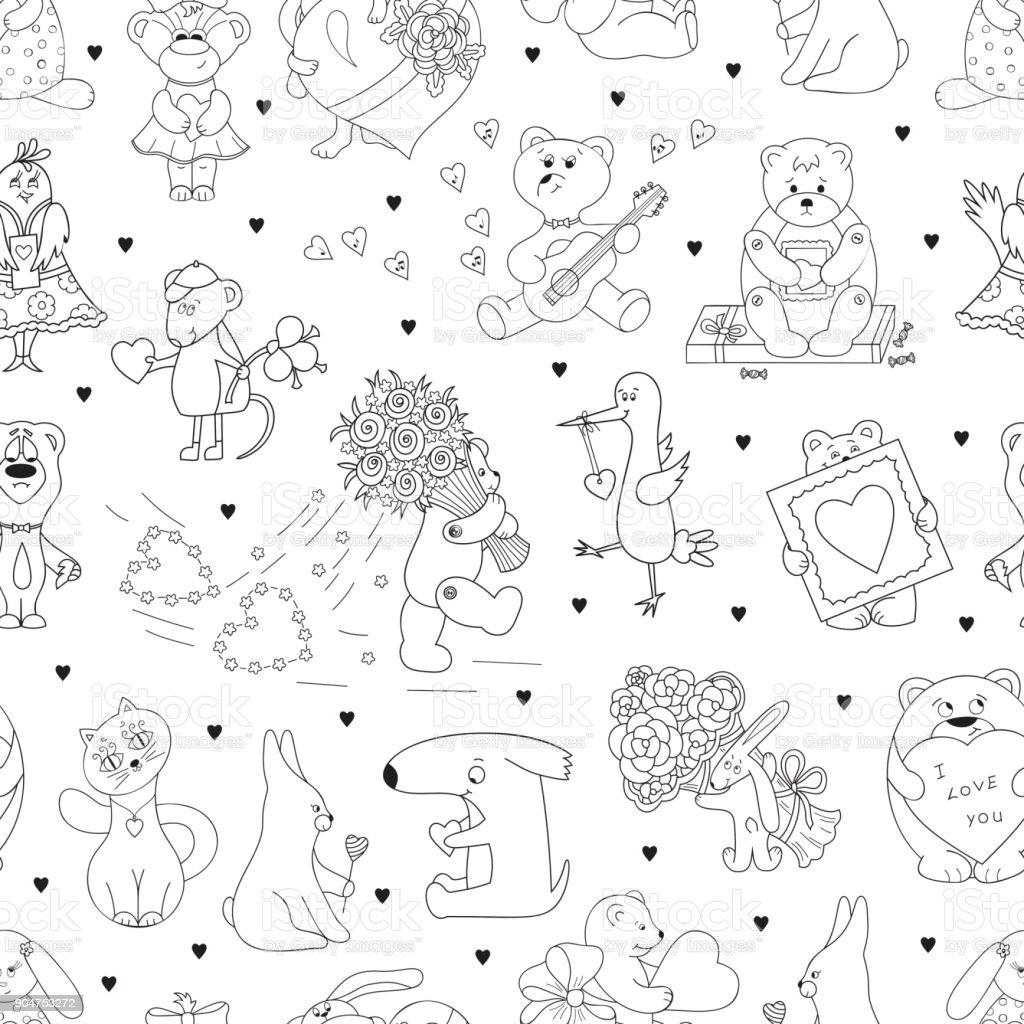 Valentinstag Vector Seamless Pattern Für Kinder Valentine ...