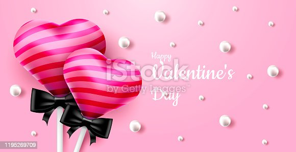 istock Valentine's Day. Vector sweet and cute pink background with realistic 3D candy lollipops and pearls. Banner for the site or postcards. Place for text 1195269709