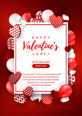 Valentines Day vertical sale banner. Valentines day design for banners, flyers, newsletters, postcards. Space for text. Vector illustration.