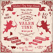 Valentine's Day vintage design elements set in burgundy colors. The color palette is neutral (vintage colors). The used colors are burgundy, red and beige.