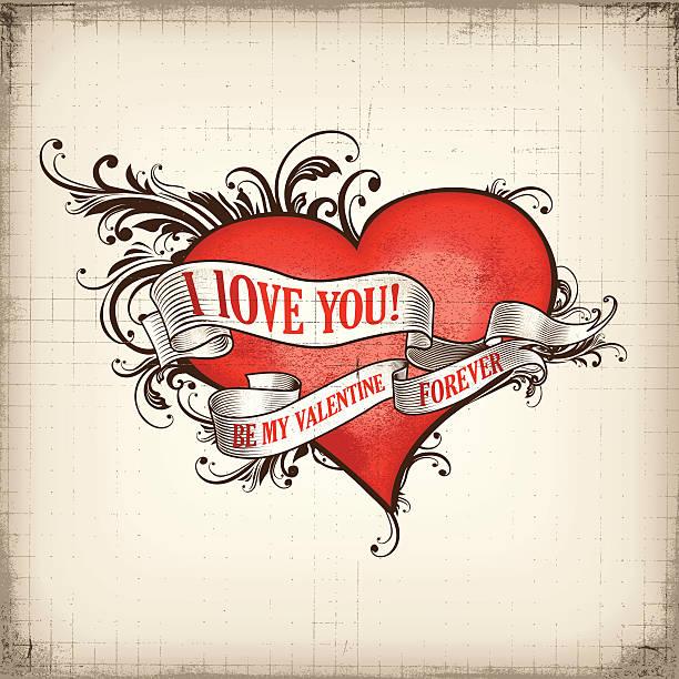 illustrazioni stock, clip art, cartoni animati e icone di tendenza di di san valentino design vintage - love word