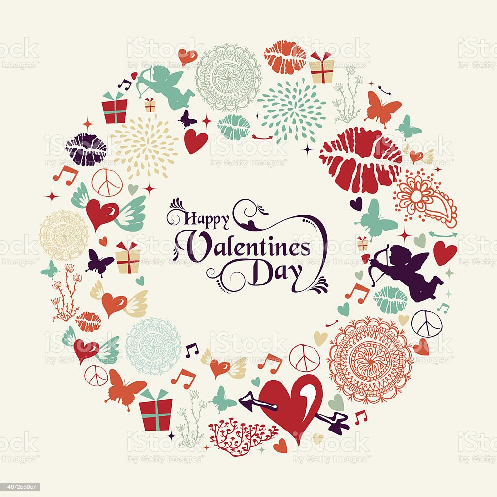 Valentine`s day vintage greeting card vector art illustration