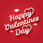 valentines day vintage lettering with shadow on red background 10 eps