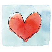 Vector illustration of a Valentines Day greeting card with a watercolor heart shape.
