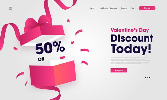 Valentine's Day Website landing page vector template design illustration
