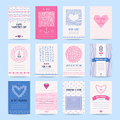 Valentine's day, wedding invitation, romantic love cards. Hipster templates collection with hand drawn textures, brush strokes, heart symbols, declaration of love. Isolated vector set.