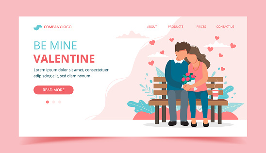 Valentine's day with couple sitting on the bench. Landing page design template, vector illustration in flat style