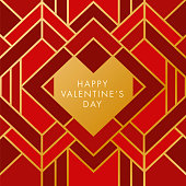 Valentine's Day with Geometric Heart. Art Deco style - Illustration