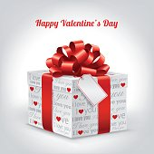 """Valentine's Day with gift box, blank Tag, red bow and text """"I Love You"""""""
