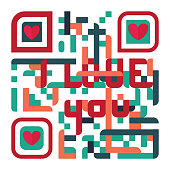Valentine's day with QR Code Design vector.