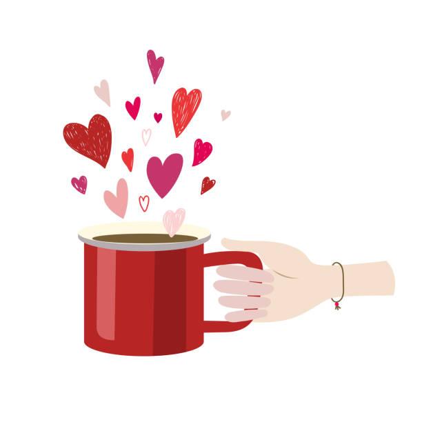valentines day woman hand hält rote tasse latte americano espresso. flaches design-vektor-illustration - paararmbänder stock-grafiken, -clipart, -cartoons und -symbole