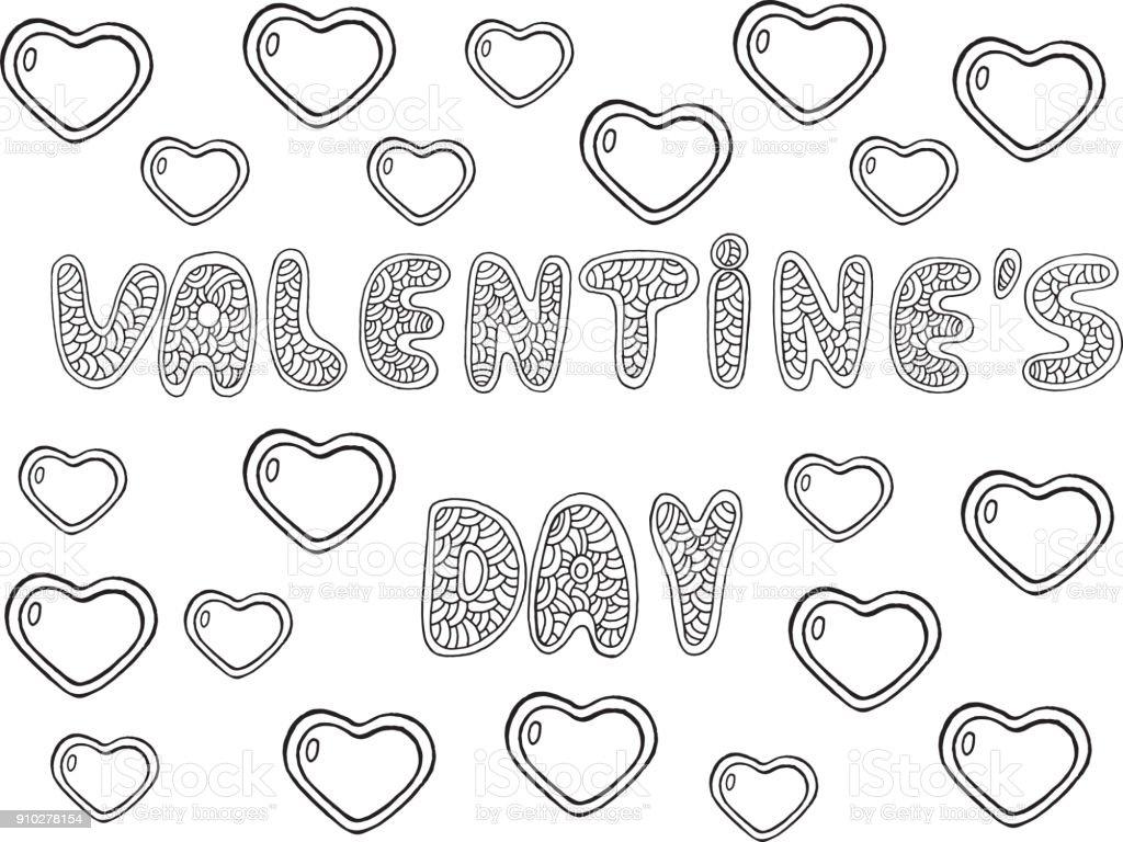 Ilustración De Día De San Valentín Página Para Colorear