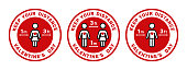 Valentine's Day. Keep Your Distance Stay Safe Social  Distancing Keep a Safe Distance of 3 ft or 3 Feet 1 m or 1 Metres Sticker  Badge Instruction Icon. Vector Image.