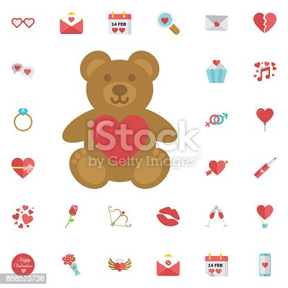 Valentines day.Cute teddy bear with heart icon isolated on white background.Valentines heart shaped sweet candy lollipops. Vector illustration.Be my valentine.