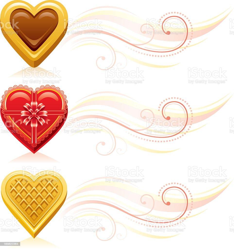Valentine's dessert hearts  vignettes royalty-free stock vector art