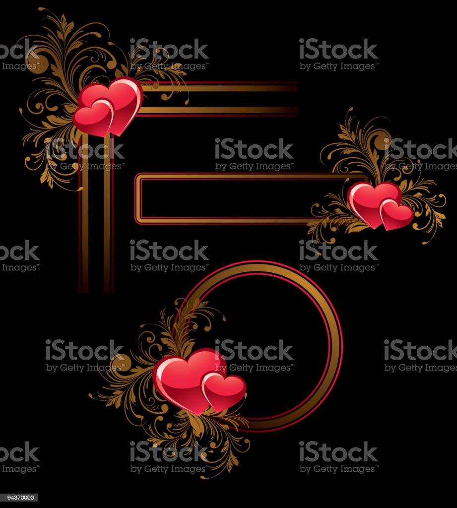 Valentine's floral decorative design elements royalty-free stock vector art