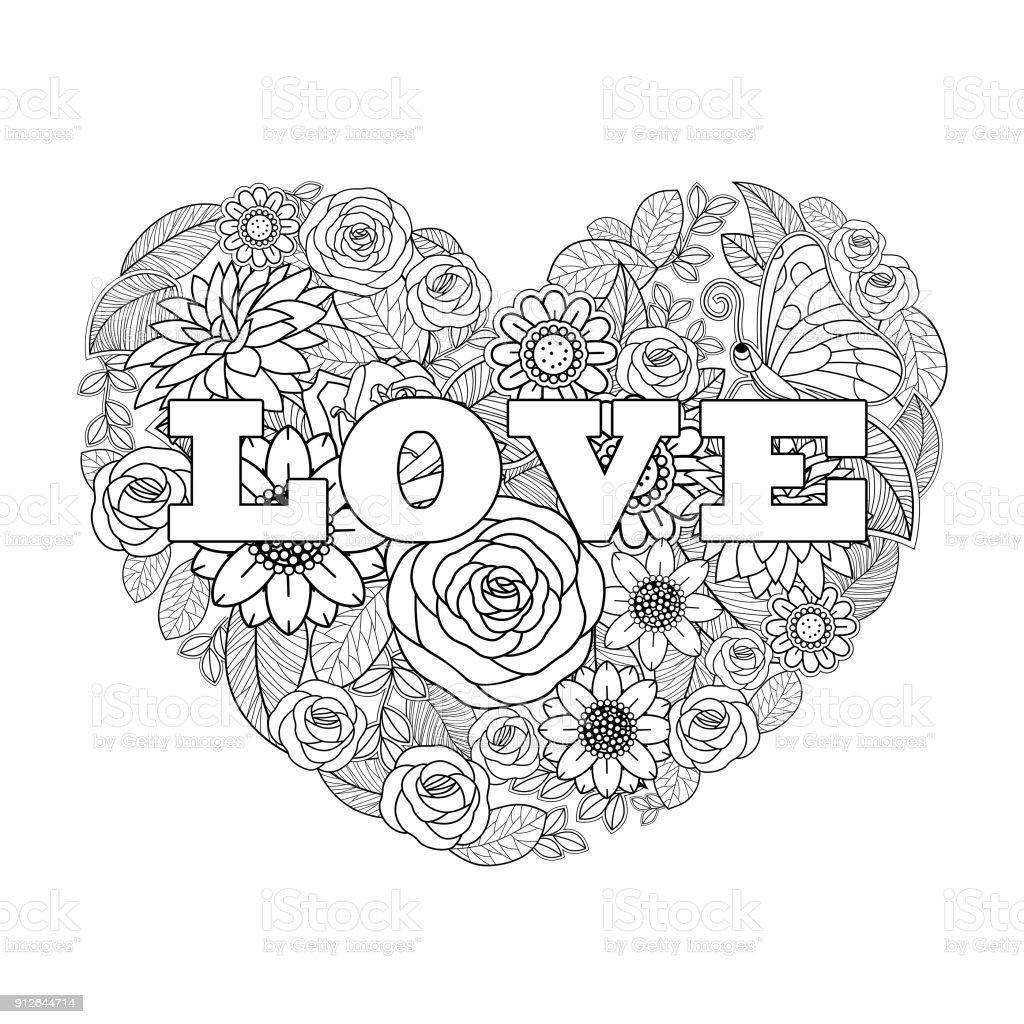 Fleur De Saint Valentin Coeur Forme Noir Et Blanc De Dessin