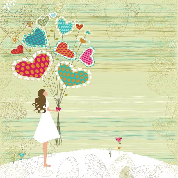 Valentine's girl with bunch of flowers vector art illustration