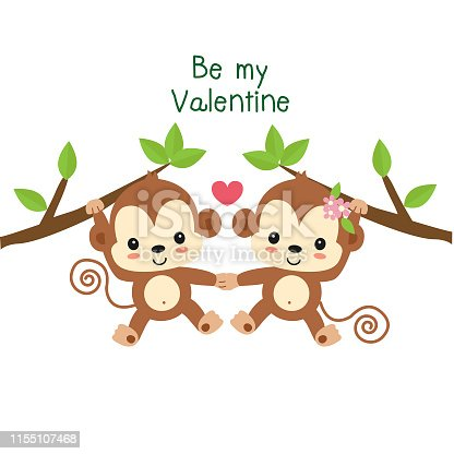 Valentines greeting card. Couple monkey in love.
